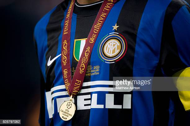 The Inter Milan shirt of captain Javier Zanetti of Inter Milan with a winners medal from the UEFA Champions League Final 2010 around his neck |...