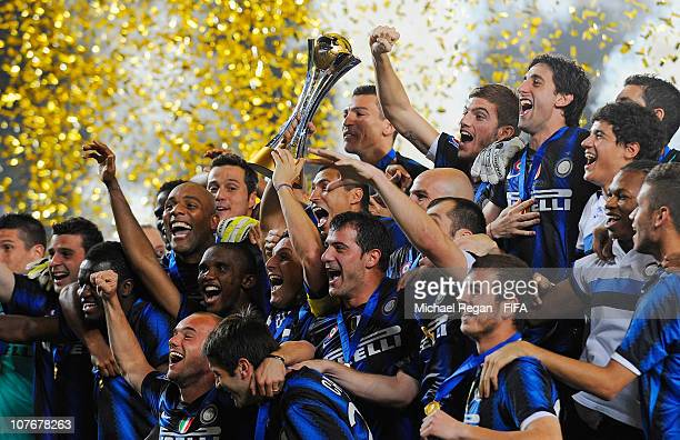 The Inter Milan team celebrate winning the FIFA Club World Cup Final between TP Mazembe Englebert and FC Internazionale Milano at Zayed Sports City...