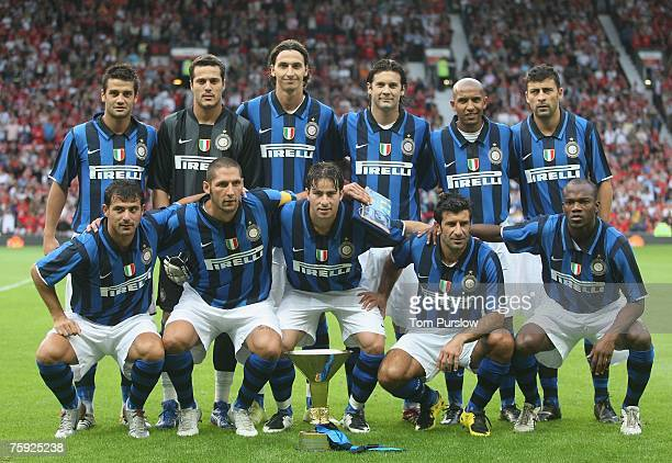 The Inter Milan team line up ahead of the preseason friendly match between Manchester United and Inter Milan at Old Trafford on August 1 2007 in...