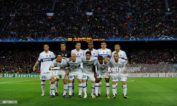The Inter Milan team line up before the UEFA Champions League Semi Final Second Leg match between Barcelona and Inter Milan at Camp Nou on April 28,...