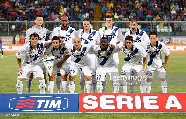 the Inter Milan team pose for an official photo before the Serie A match between Catania Calcio and FC Internazionale Milano at Stadio Angelo...