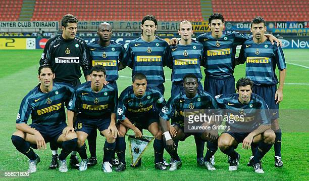 The Inter team line up before the UEFA Champions League Group H match between Inter Milan and Glasgow Rangers on September 28 2005 at the San Siro in...