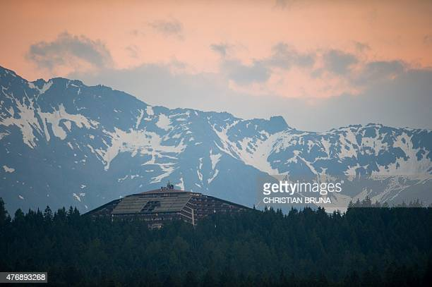 The InteralpenHotel Tirol venue of the Bilderberg conference is pictured on June 12 2015 near Telfs Austria The Bilderberg group which brings...