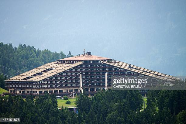 The InteralpenHotel Tirol venue of the Bilderberg conference is pictured on June 14 2015 near Telfs Austria The Bilderberg group which brings...