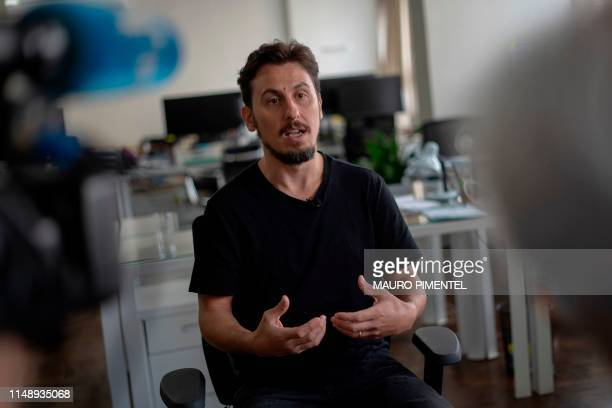 The Intercept Brasil Executive Editor Leandro Demori offers an interview to AFP at The Intercept newsroom in Rio de Janeiro Brazil on June 10 2019...