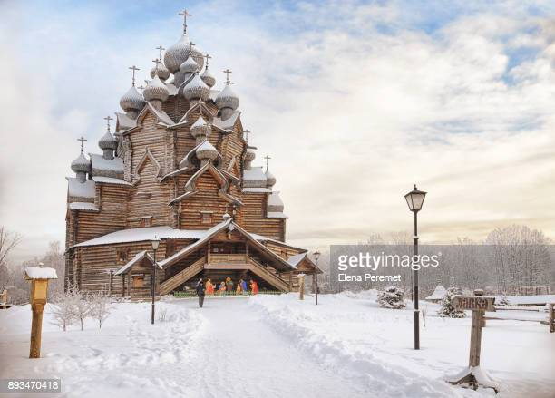 the intercession church in winter ,st. petersburg,russia,europe - st. petersburg russia stock photos and pictures