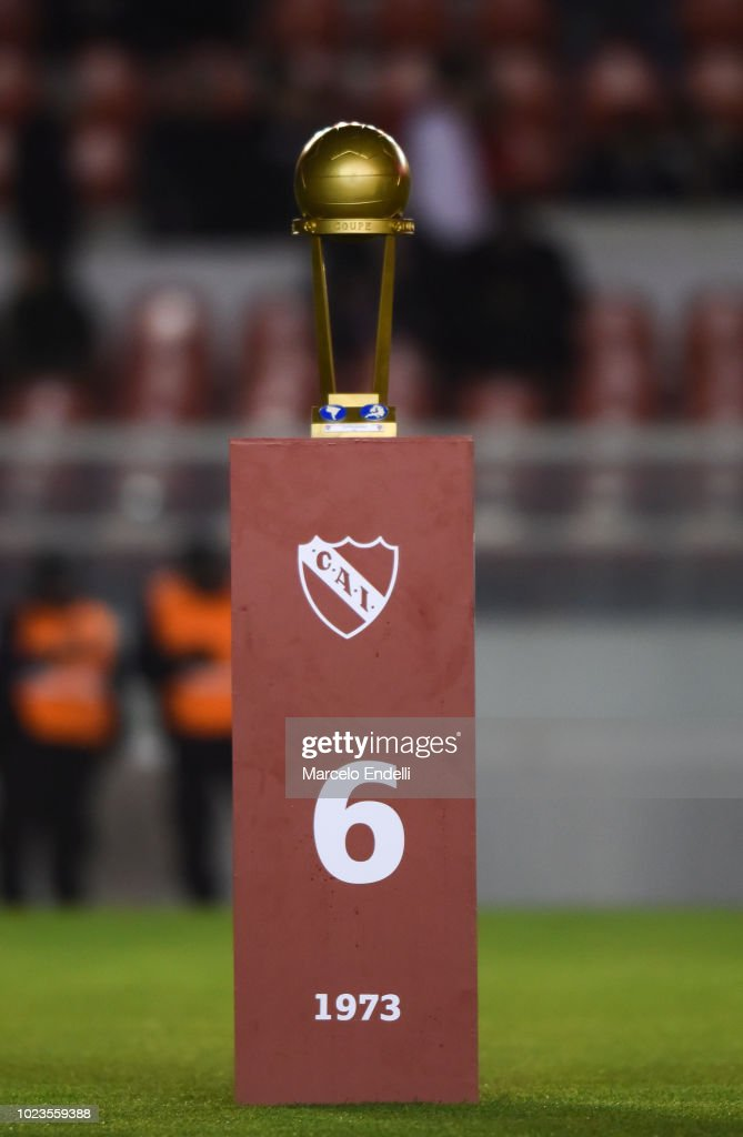 The Intercontinental Cup trophy is displayed during a celebration ...