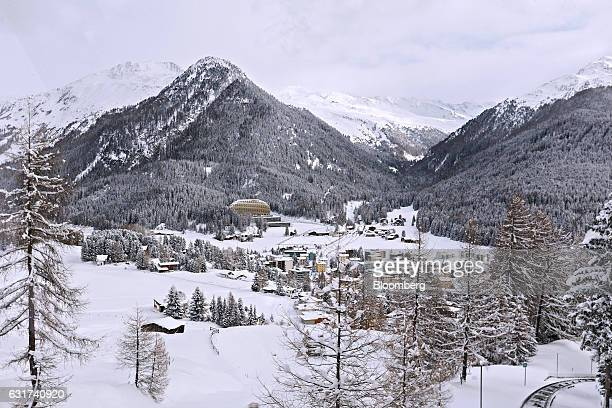 The InterContinental hotel Davos operated by InterContinental Hotels Group Plc sits beyond snow covered buildings in Davos Switzerland on Sunday Jan...