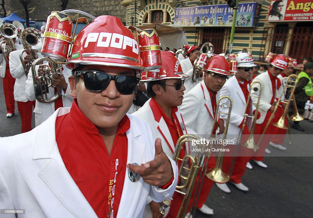 The intercontinental Poopo band perform during the religious festival of Jesus del Gran Poder on June 15, 2014 in La Paz, Bolivia. About thirty thousand people attended the event, which is a traditional folk celebration in the country.