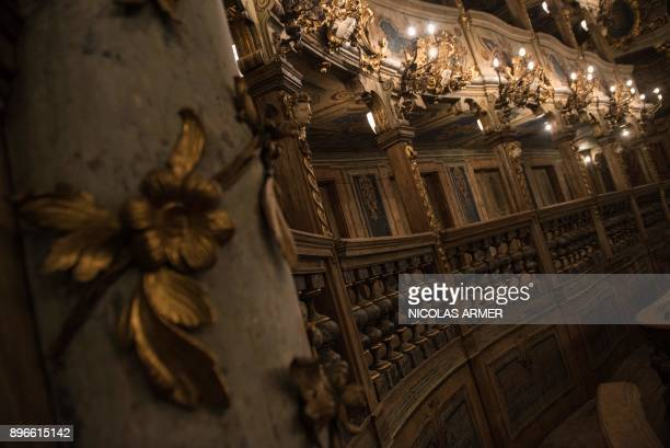 The interioir of the Margravial Opera House in Bayreuth is pictured on December 21 2017 The Margravial Opera House is a Baroque opera house built...