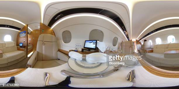 The interior an Embraer SA Legacy 500 jet is seen during the Singapore Airshow held at the Changi Exhibition Centre in Singapore on Tuesday Feb 6...