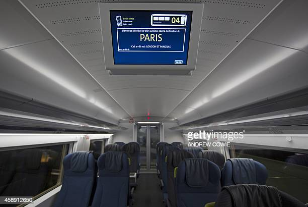 The interior cabin in the new Eurostar Train e320 is seen at St Pancras Station during a press day launch in central London on November 13 2014...