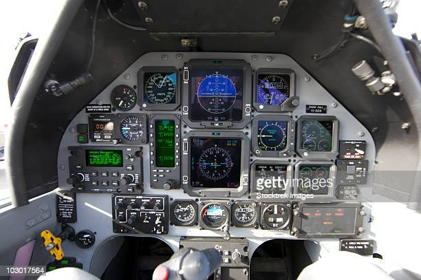 the interior cockpit of an iraqi air force t-6 texan trainer aircraft on cob speicher. - tikrit stock pictures, royalty-free photos & images