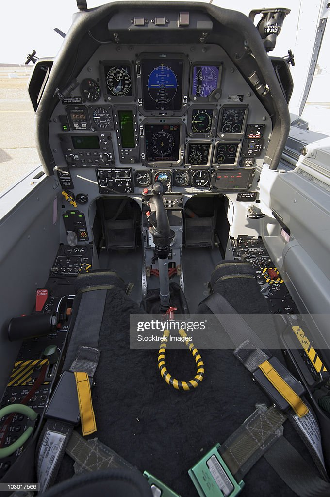The interior cockpit of an Iraqi Air Force T-6 Texan trainer aircraft on COB Speicher. : Stock Photo