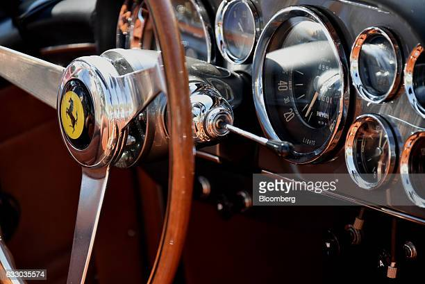 The interior controls of a 1961 Ferrari SpA 250 GT SWB California grand touring vehicle are seen during the 26th Annual Cavallino Classic Event at...