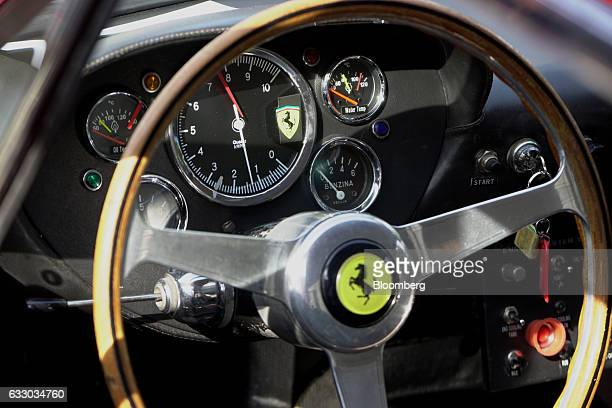 The interior controls of a 1963 Ferrari SpA 330 LMB race vehicle is seen during the 26th Annual Cavallino Classic Event at the Breakers Hotel in Palm...