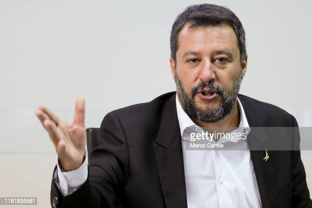 The Interior Minister, Matteo Salvini, during the press conference for the National Committee for Order and Public Safety in Italy.