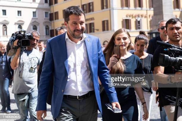 The Interior Minister Matteo Salvini seen before a press conference in front of Montecitorio in Rome