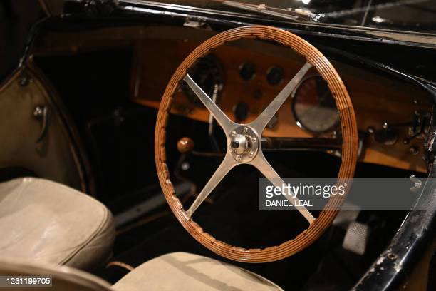 The interior of a 1937 Bugatti Type 57S, nicknamed 'Dulcie' due to its registration number 'DUL 351' is pictured at Bonhams in central London on...