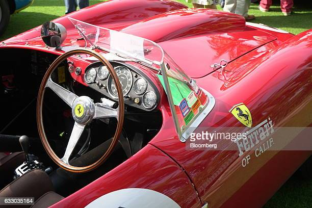 The interior of a 1958 Ferrari SpA 412 MI race vehicle is seen during the 26th Annual Cavallino Classic Event at the Breakers Hotel in Palm Beach,...