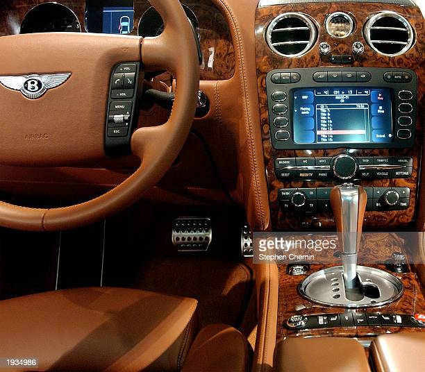 The interior of a 2003 Bentley Continental GT is seen at the 2003 New York Auto Show April 16 2003 at the Javits Center in New York City The handmade...