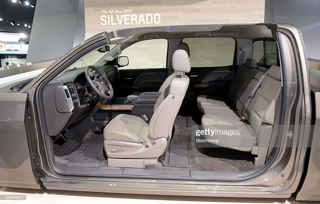 The interior of a 2014 Chevrolet Silverado truck is seen during the 2013 North American International Auto Show (NAIAS) in Detroit, Michigan, U.S., on Tuesday, Jan. 15, 2013. The Detroit auto show runs through Jan. 27 and will display over 500 vehicles, representing the most innovative designs in the world. Photographer: David Paul Morris/Bloomberg via Getty Images