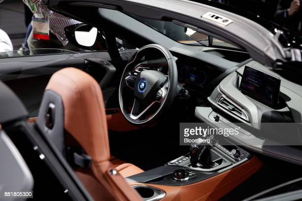 The interior of a 2018 Bayerische Motoren Werke AG i8 Roadster plugin hybrid vehicle is seen during AutoMobility LA ahead of the Los Angeles Auto...