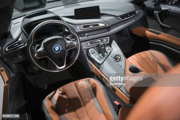 The interior of a Bayerische Motoren Werke AG i8 Roadster vehicle is seen during the 2018 New York International Auto Show in New York US on Thursday...