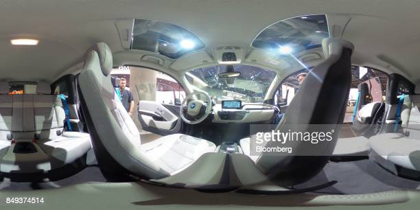 The interior of a BMW i3 electric automobile manufactured by Bayerische Motoren Werke AG during the second media preview day of the IAA Frankfurt...