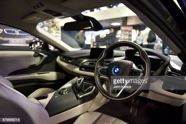 The interior of a BMW i8 on display at the London Motor Show at Battersea Evolution on May 4 2017 in London England 41 dealerships and manufacturers...