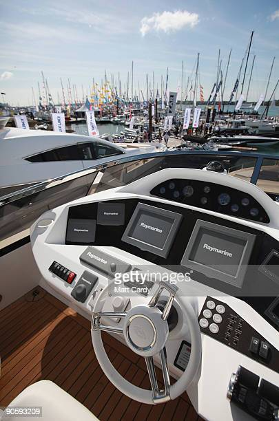 The interior of a boat on display on the first day of the PSP Southampton Boat Show in Mayflower Park on September 11 2009 in Southampton England The...