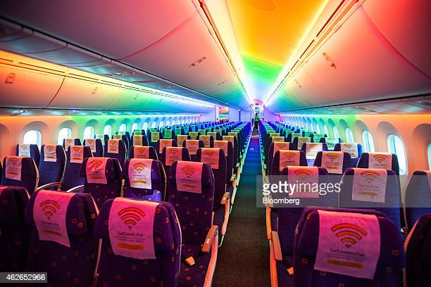 The interior of a Boeing Co 787 Dreamliner aircraft operated by Scoot Pte a unit of Singapore Airlines Ltd is seen during a media tour at Changi...