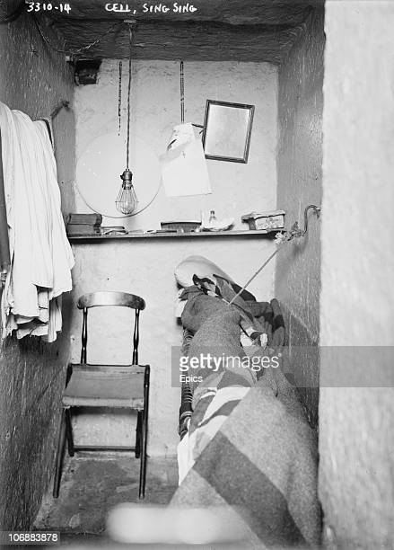 The interior of a cell in Sing Sing correctional prison Ossining New York State circa 1915