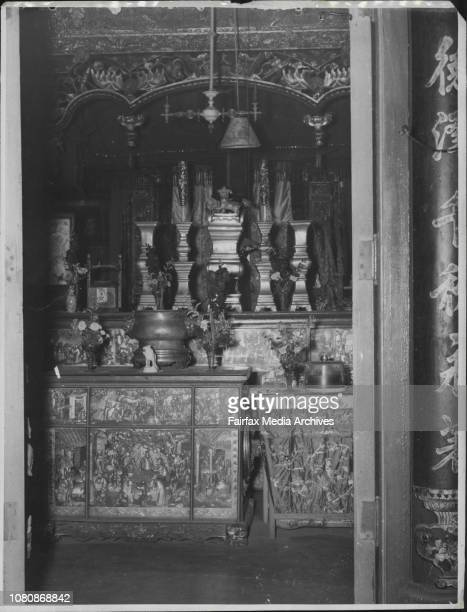 The interior of a Chinese temple are Joss House at Glebe January 29 1949