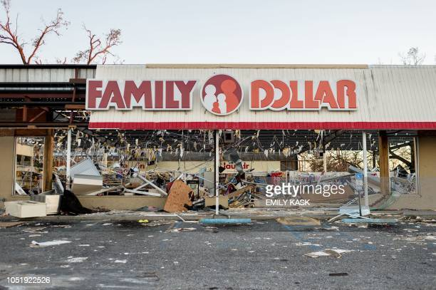 The interior of a Family Dollar Store that had the storefront ripped off is seen in the aftermath of Hurricane Michael in Millville Florida on...