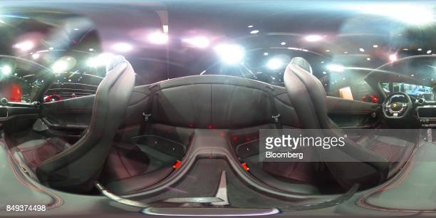 The interior of a Ferrari NVPortofino entrylevel supercar sits on display during the second media preview day of the IAA Frankfurt Motor Show in...