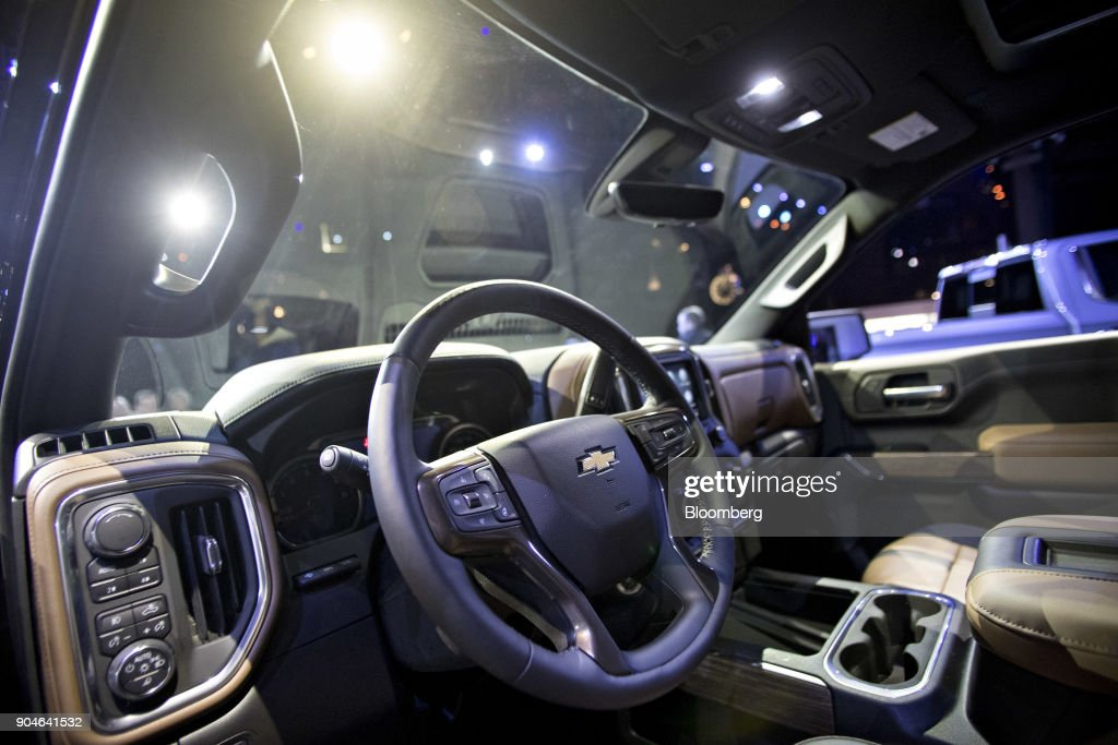 The interior of a General Motors Co. (GM) 2019 Chevrolet Silverado pickup truck sits on display during the 2018 North American International Auto Show (NAIAS) in Detroit, Michigan, U.S., on Saturday, Jan. 13, 2018. GM kicked off the Detroit auto show by revealing all-new Silverado pickup truck that is the first all-new, completely-redesigned truck the automaker has sold since 2007. Photographer: Andrew Harrer/Bloomberg via Getty Images