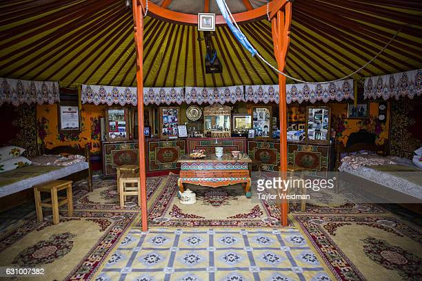 The interior of a ger for guests in Altanbulag Mongolia on July 28 2016 This herding family has recently begun accepting guests via Airbnb