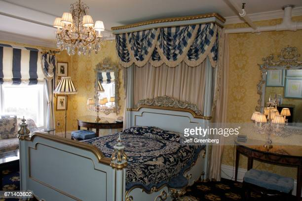 The interior of a guest bedroom at the Grand Hotel