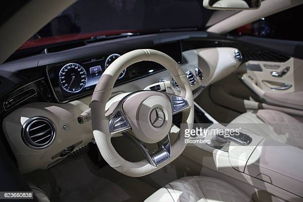 The interior of a MercedesBenz Maybach S 650 Cabriolet convertible vehicle is displayed during Automobility LA ahead of the Los Angeles Auto Show in...
