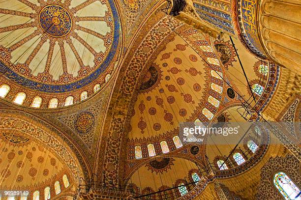 the interior of a mosque ceiling in blue and yellow - istanbul stock photos and pictures