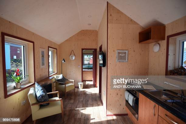 The interior of a NestHouse is pictured during the launch of the Social Bite Village project in Granton Edinburgh in Scotland on May 17 2018 The...