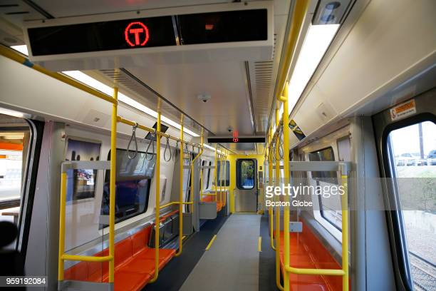 The interior of a new MBTA Orange Line car at Wellington Station in Medford MA is pictured on May 15 2018 The first new train is expected to enter...