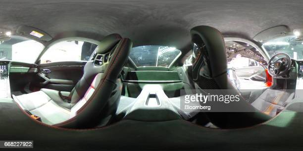 The interior of a Porsche Automobil Holding SE 911 GT3 vehicle is seen during the 2017 New York International Auto Show in New York US on Thursday...