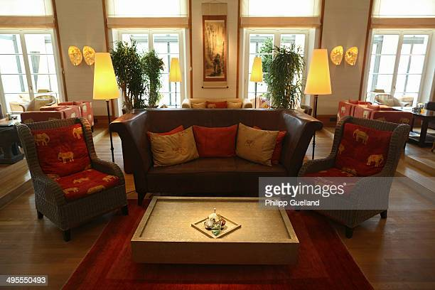 The interior of a restaurant is seen at Schloss Elmau, a luxury spa hotel, in the Bavarian Alps of southern Germany on June 3, 2014 in Kruen near...