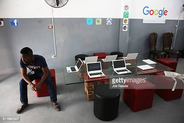The interior of a studio where Google and Alexis Leiva Machado a Cuban sculptor known as Kcho is seen where the technology company and artist have...