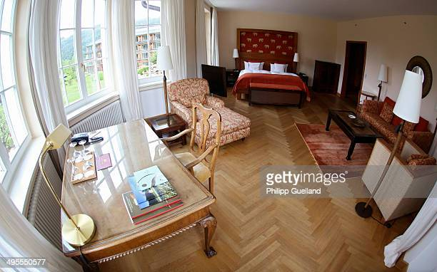 The interior of a suite at Schloss Elmau, a luxury spa hotel, in the Bavarian Alps of southern Germany on June 3, 2014 in Kruen near...