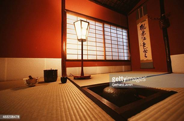 The interior of a tea house in Kyoto.