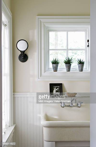 the interior of a traditionally built and furnished farmhouse, in the country. - toilet planter stock pictures, royalty-free photos & images
