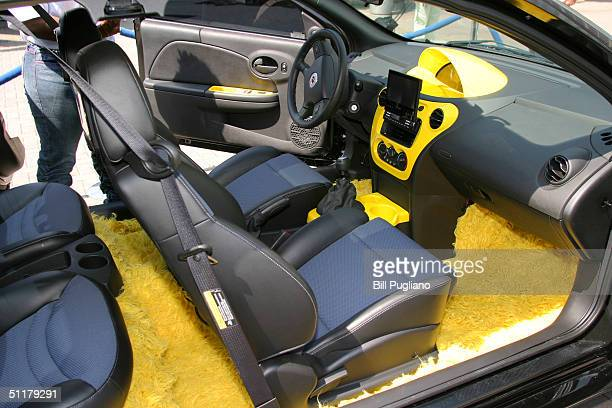 The interior of a 'tricked out' General Motors Saturn vehicle designed by Chingy is shown August 16 2004 in Detroit Michigan MTV kicked off its Video...